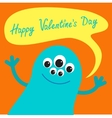 Cute blue monster with speech text bubble Happy vector image