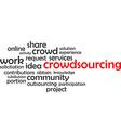 word cloud crowdsourcing vector image vector image
