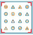 warning signs - in a frame series vector image vector image