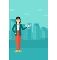 Woman holding ringing telephone vector image