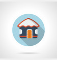 blue beach hut flat round icon vector image