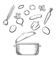 Cooking process with dish and vegetables vector image