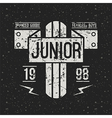 Emblem racing junior in retro style vector image