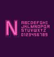 pink neon light alphabet font vector image