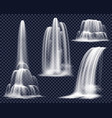 realistic waterfalls on transparent background set vector image