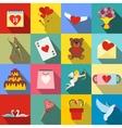 Valentines flat icons set vector image