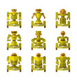 robots on wheels icons collection vector image