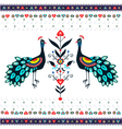 Embroidery Pattern With Peacocks vector image