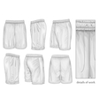 Mens white sport shorts vector image vector image