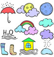 art of wether style cloud doodles vector image