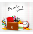 Background with school supplies vector image
