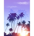 Blue sunrise palms silhouettes poster background vector image
