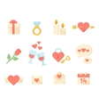 Valentine day icons elements collection vector image