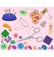 Sewing stuff set vector image vector image