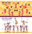 cheerleaders team 2 flat banners vector image