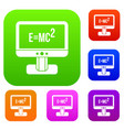 monitor with einstein formula set collection vector image
