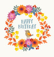 cute hand drawn autumn birthday greeting card vector image