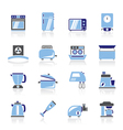 kitchen appliances and equipment icons vector image