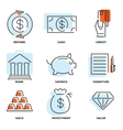 Set of money and value flat line icons vector image vector image