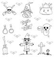 Hand draw element Halloween in doodle vector image