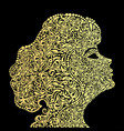 a girls face from the golden floral ornament vector image