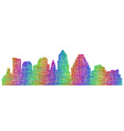 Austin skyline silhouette - multicolor line art vector image