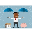 Businessman protecting house and piggy bank vector image