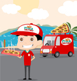 Pizza man and his Truck vector image
