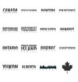 set states of canada text or labels with vector image