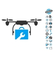 Service Drone Icon With Air Drone Tools Bonus vector image