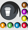 coffee icon sign Symbols on eight colored buttons vector image