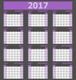 Calendar 2017 week starts on Sunday purple tone vector image vector image