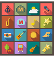 entertainment icons in flat design style vector image