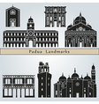 Padua landmarks and monuments vector image vector image