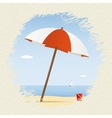 Summer theme Umbrella on the beach with yacht vector image