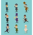 Gentleman Victorian Characters Different Poses and vector image