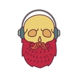 Skull with Hipster mustachemusic headphones and vector image