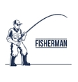 Fishing label emblem with rod and fisherman vector image