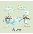 doctor treats the patient vector image vector image