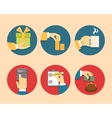 Hands with object icons vector image