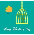 Golden birdcage cell Flat design style Happy vector image