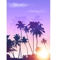 Violet sunrise palms silhouettes poster background vector image