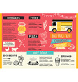 Food truck party invitation Food menu template vector image