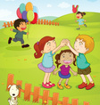 Kids playing in the park vector image