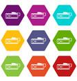 radio taxi icon set color hexahedron vector image