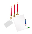 Red Candles on Blank Page and Envelope vector image