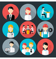 Flat stylized business people icons set with long vector image