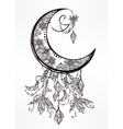 Ornate crescent moon vector image