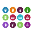 Computer mouse circle icons on white background vector image