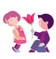 Boy congratulates girl vector image